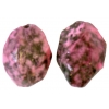Semi-Precious 15x20mm Facetted Green Spot Jade Coated Pink